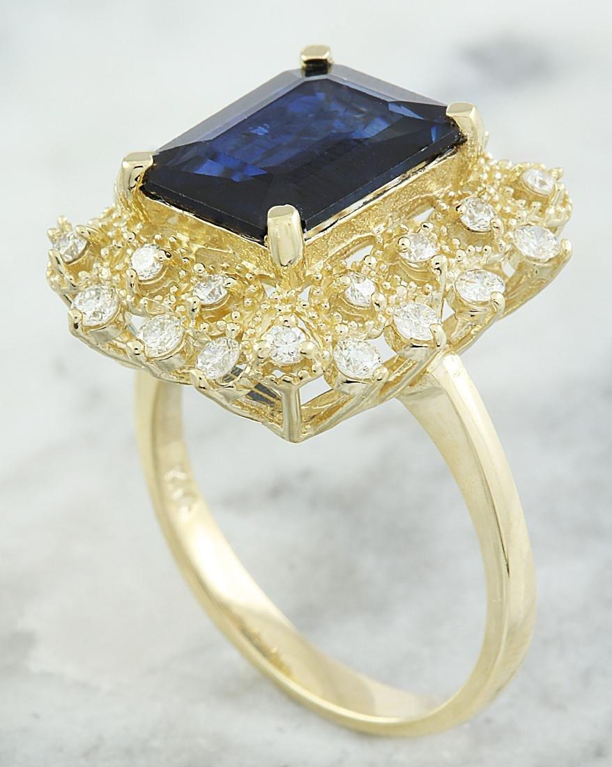 7.03 Carat Sapphire 18k Yellow Gold Diamond Ring - 3