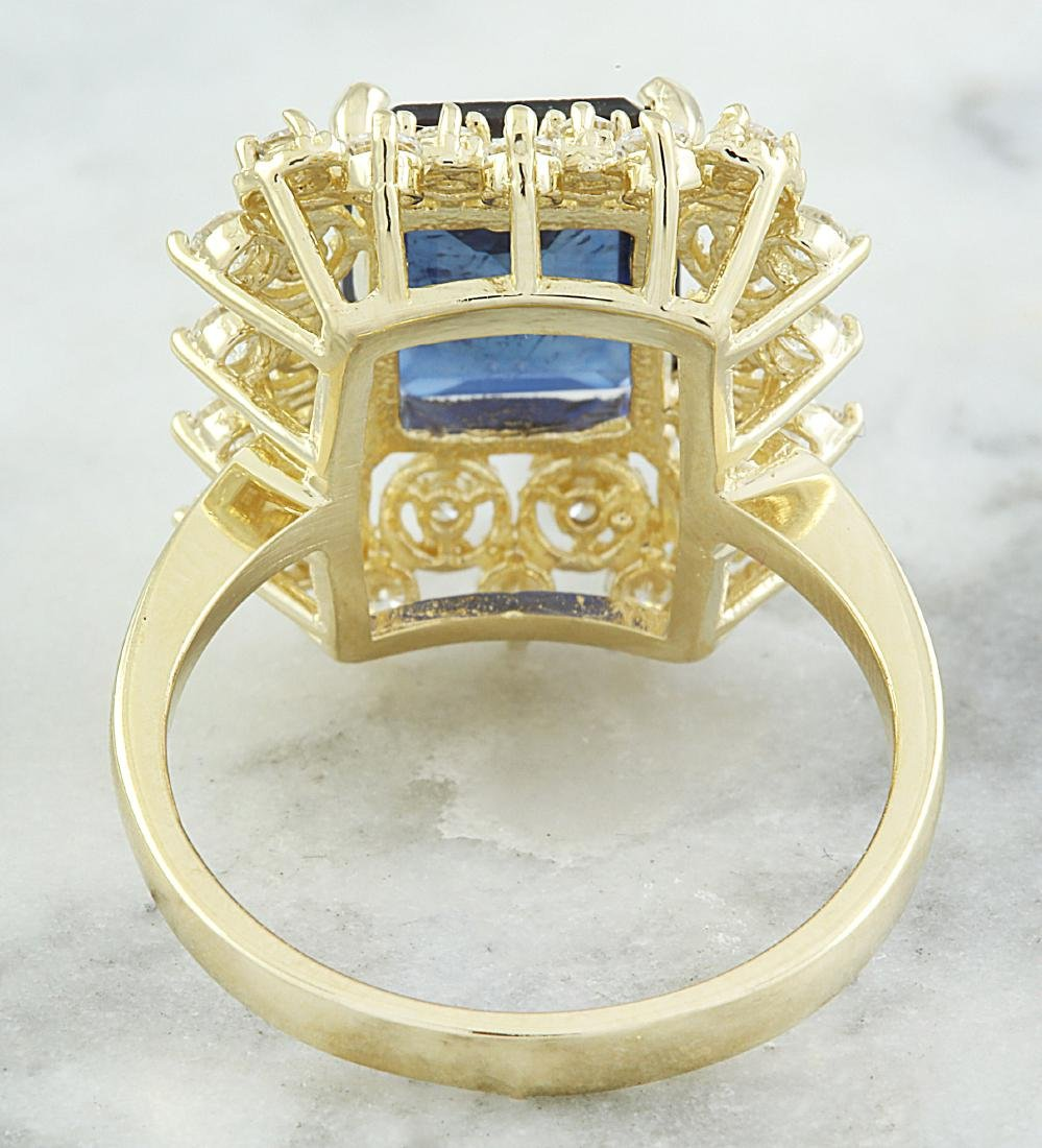 7.03 Carat Sapphire 18k Yellow Gold Diamond Ring - 4