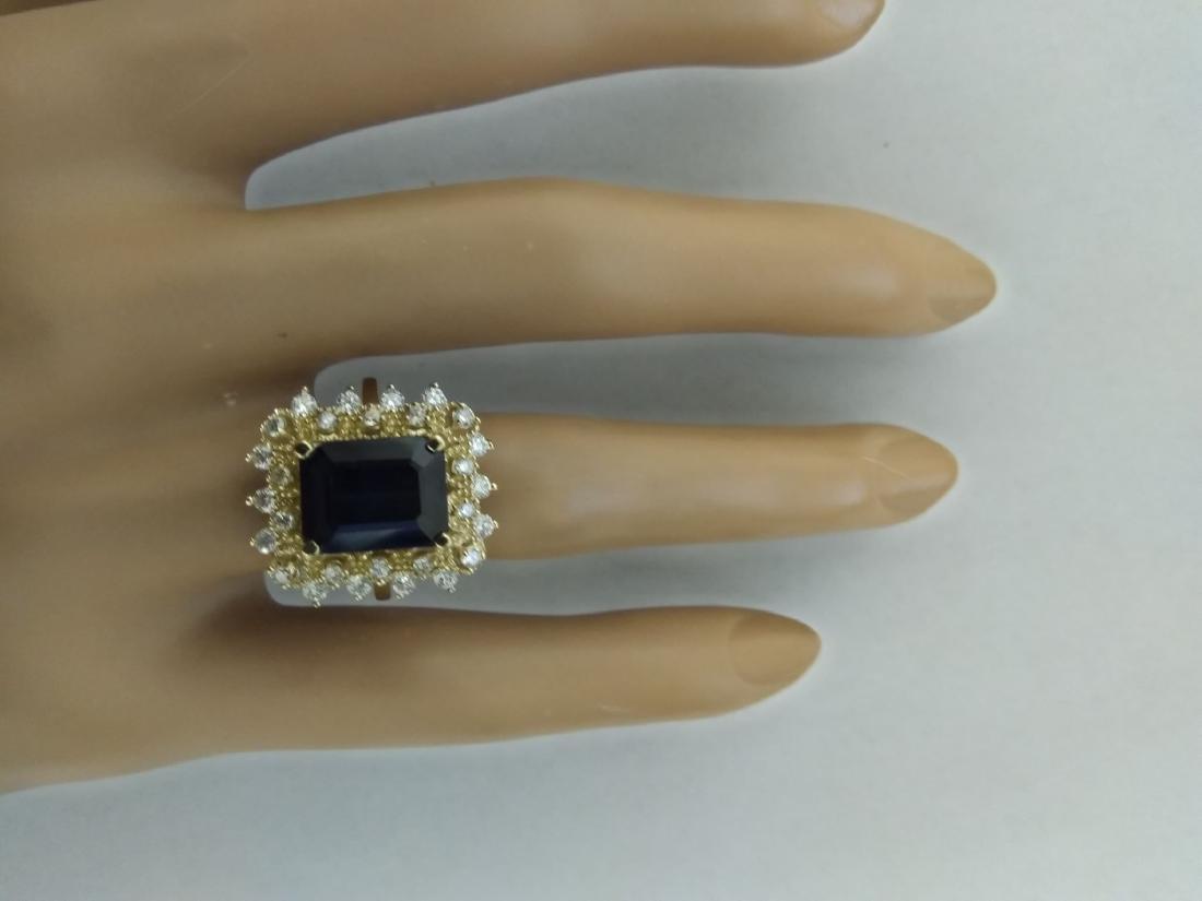 7.03 Carat Sapphire 18k Yellow Gold Diamond Ring - 5