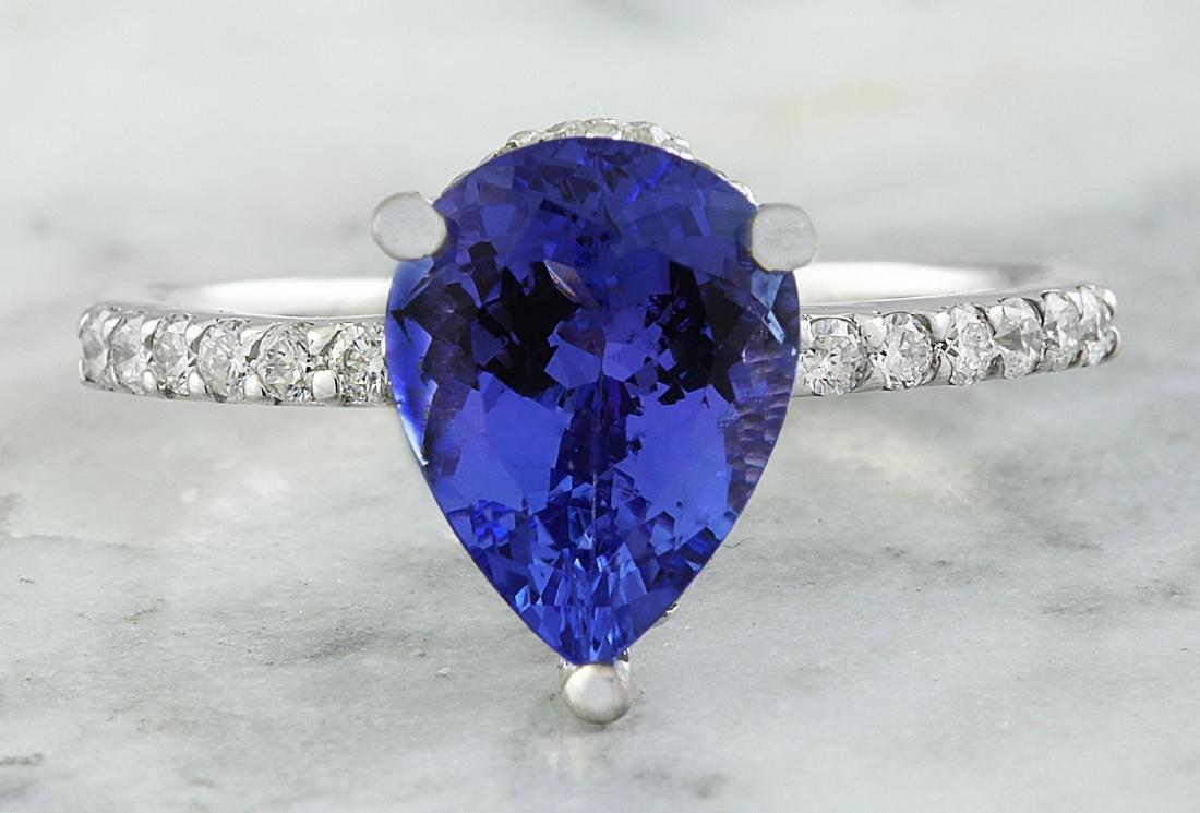 2.95 Carat Tanzanite 18k White Gold Diamond Ring