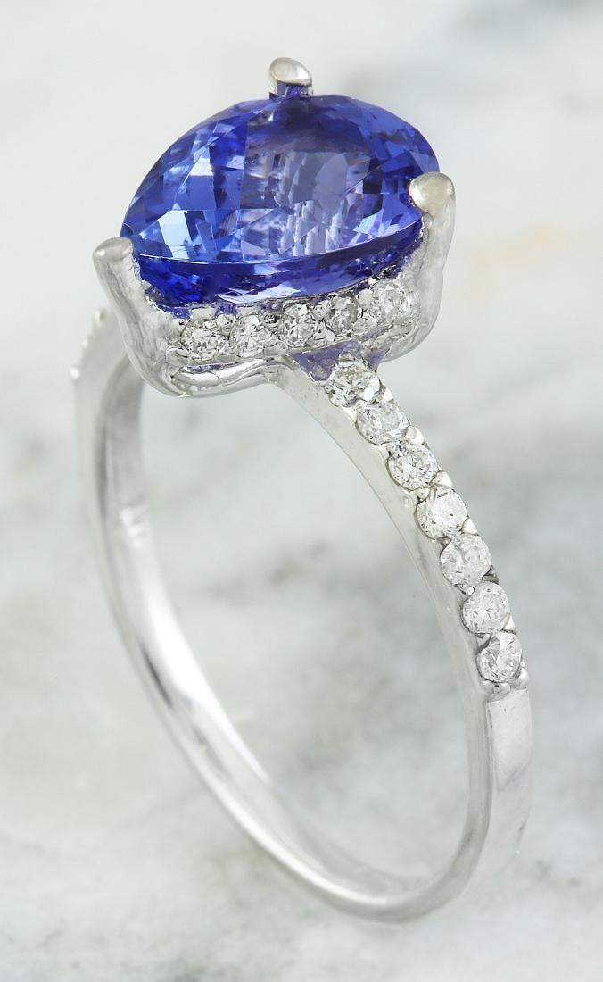 2.95 Carat Tanzanite 18k White Gold Diamond Ring - 3