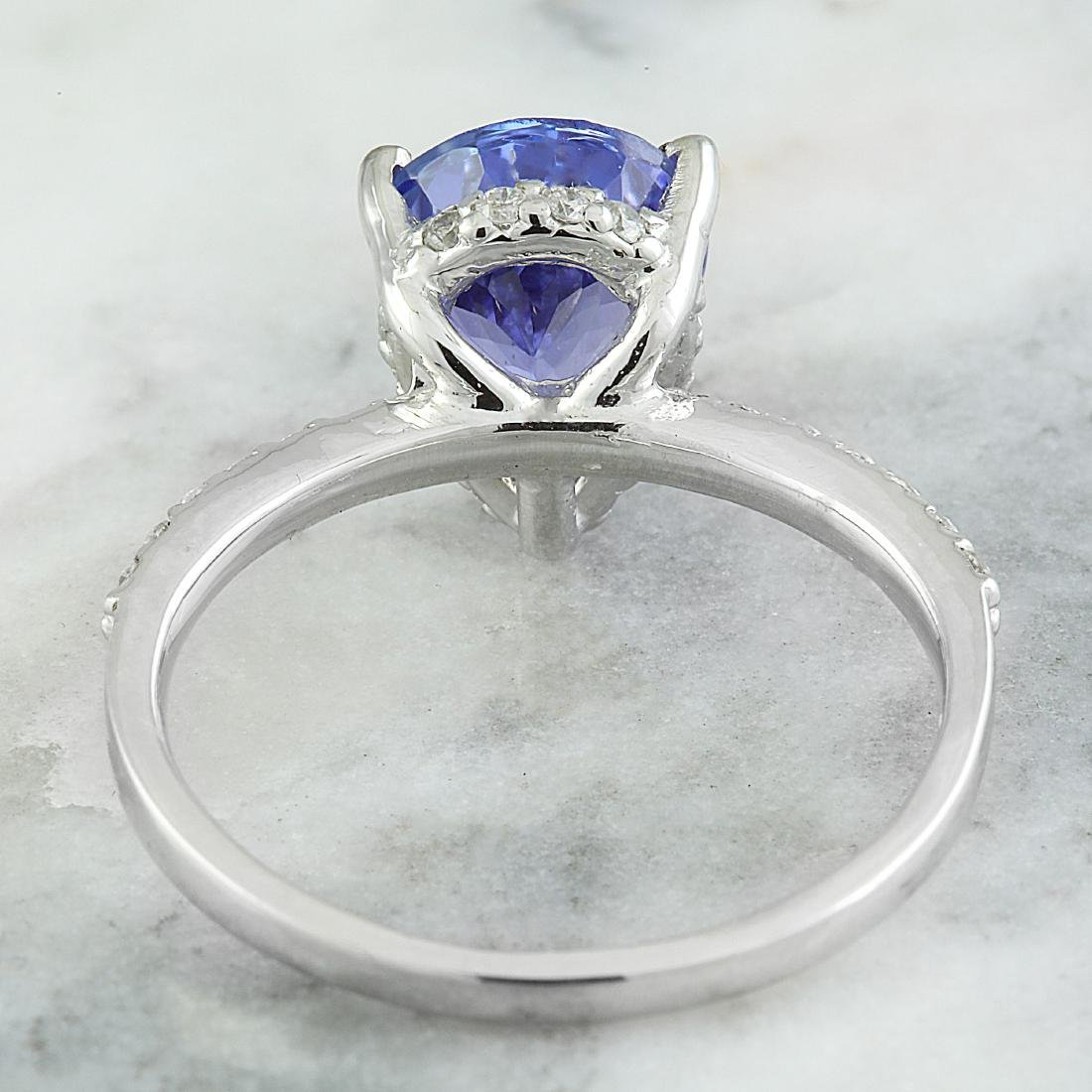2.95 Carat Tanzanite 18k White Gold Diamond Ring - 4