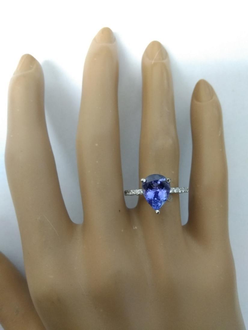 2.95 Carat Tanzanite 18k White Gold Diamond Ring - 5
