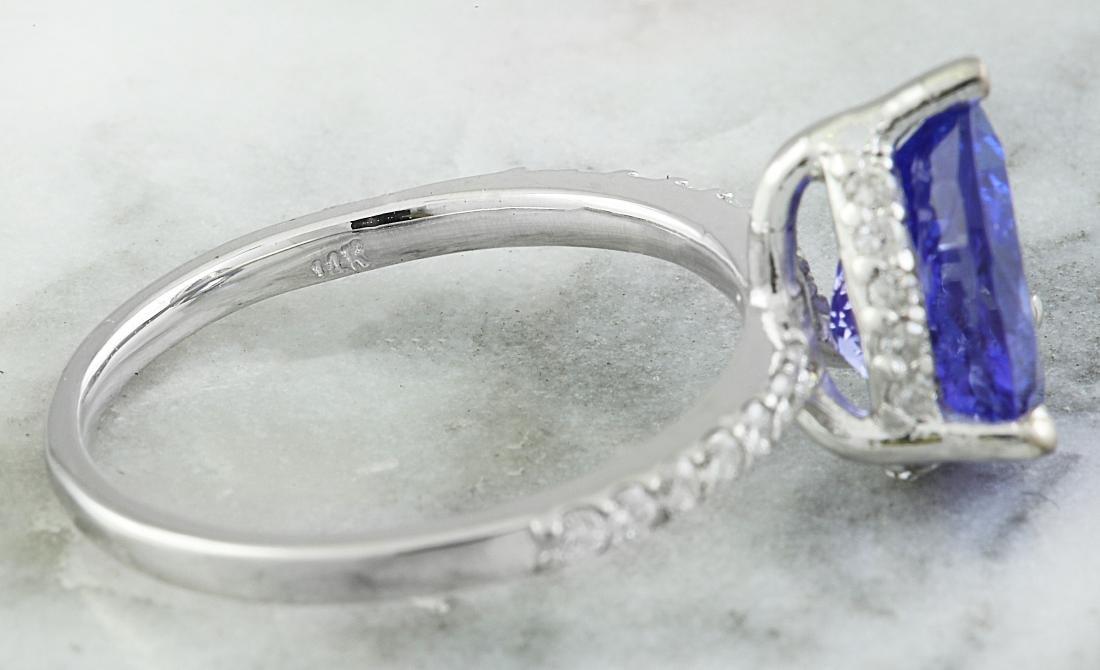 2.95 Carat Tanzanite 18k White Gold Diamond Ring - 6