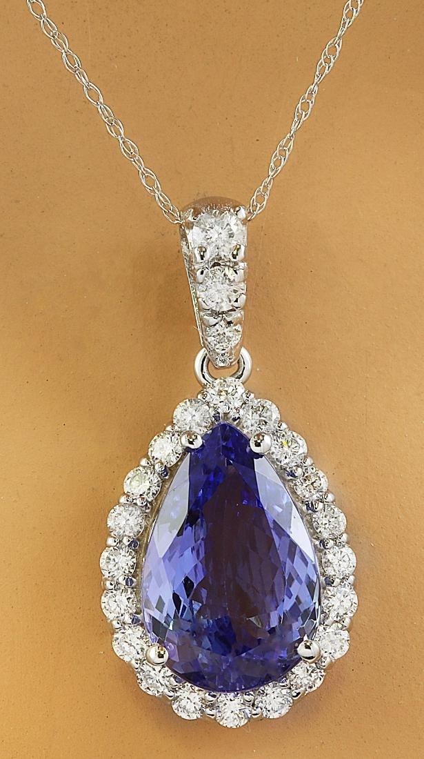 5.10 Carat Tanzanite 18k White Gold Diamond Necklace