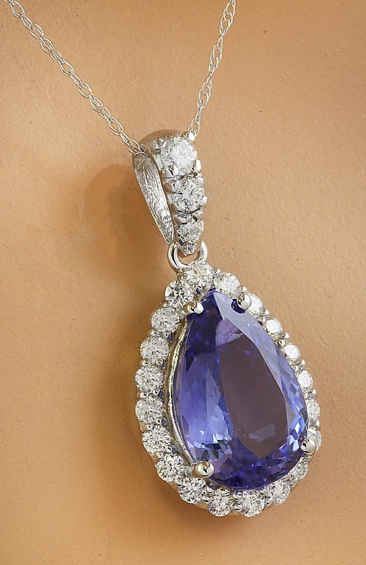 5.10 Carat Tanzanite 18k White Gold Diamond Necklace - 2