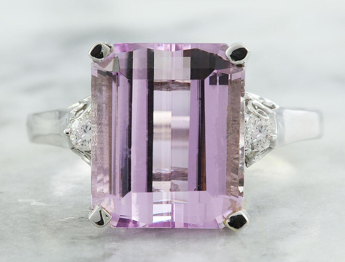 5.06 Carat Kunzite 18k White Gold Diamond Ring
