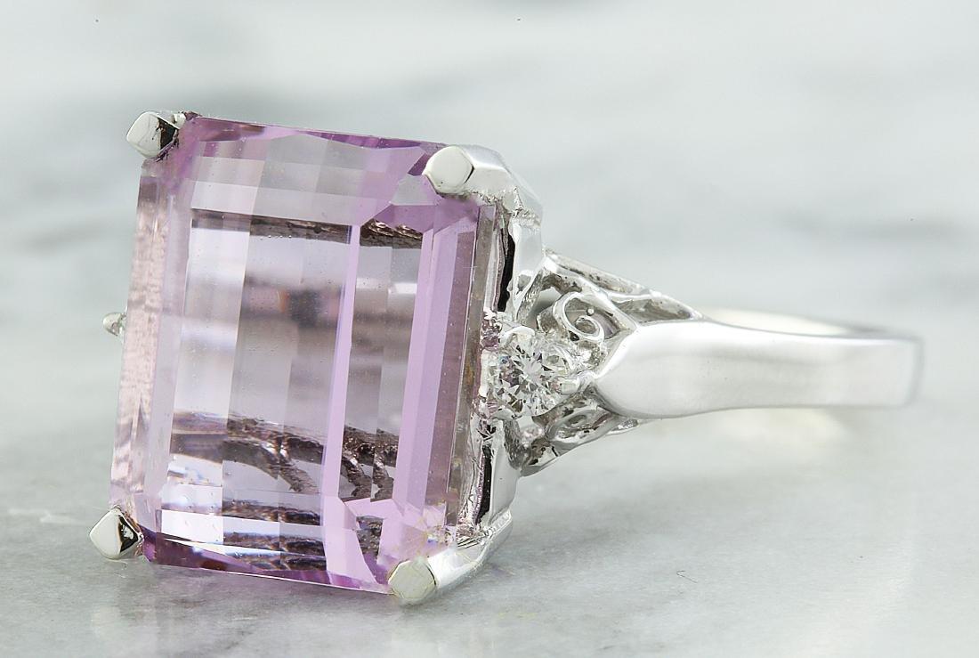 5.06 Carat Kunzite 18k White Gold Diamond Ring - 2
