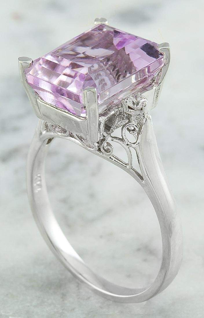 5.06 Carat Kunzite 18k White Gold Diamond Ring - 3