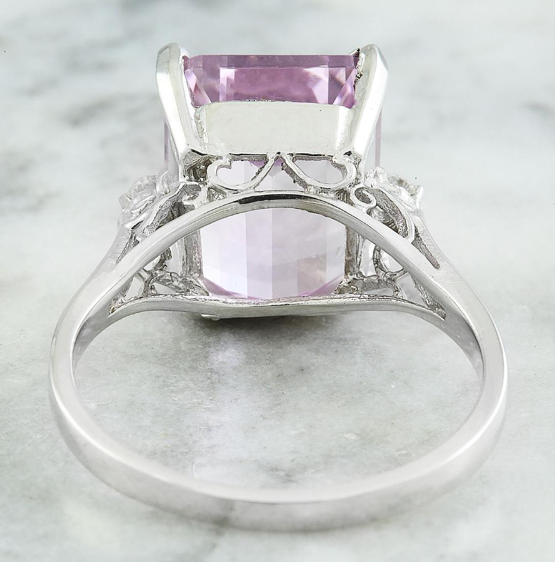 5.06 Carat Kunzite 18k White Gold Diamond Ring - 4
