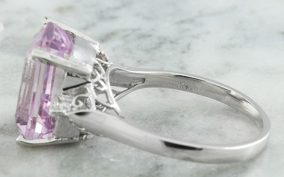5.06 Carat Kunzite 18k White Gold Diamond Ring - 6