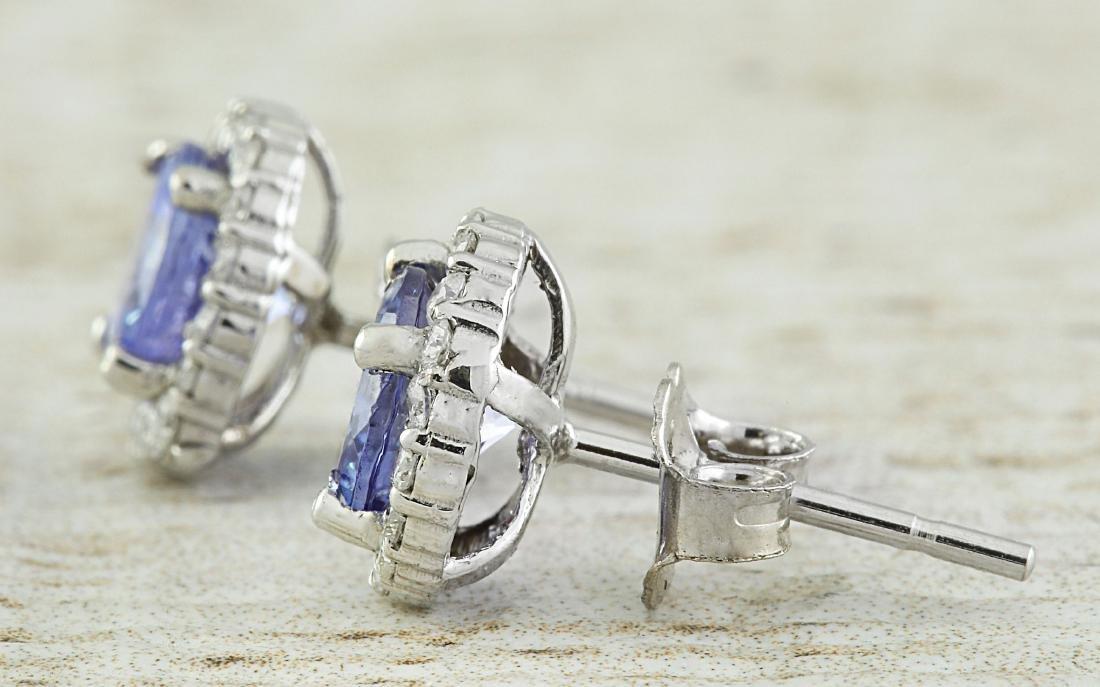 2.40 Carat Tanzanite 18k White Gold Diamond Earrings - 3