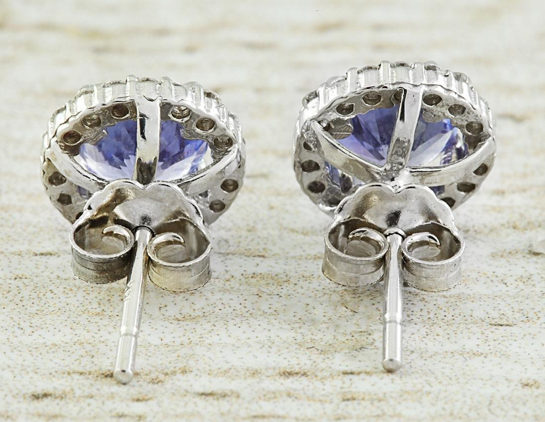 2.40 Carat Tanzanite 18k White Gold Diamond Earrings - 4