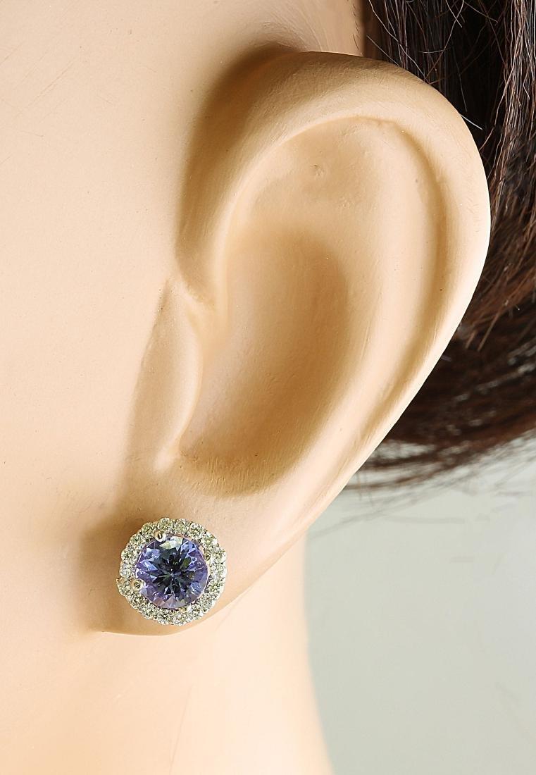 2.40 Carat Tanzanite 18k White Gold Diamond Earrings - 5