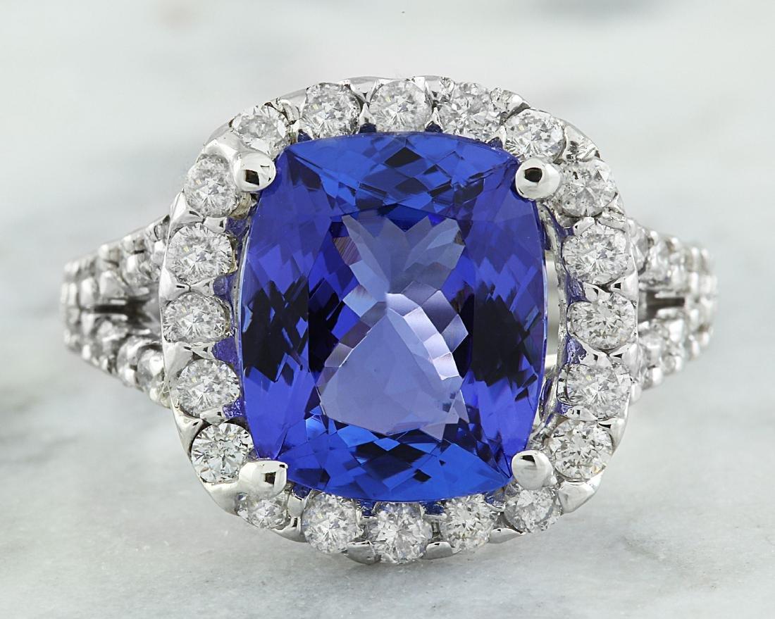 5.09 Carat Tanzanite 18K White Gold Diamond Ring