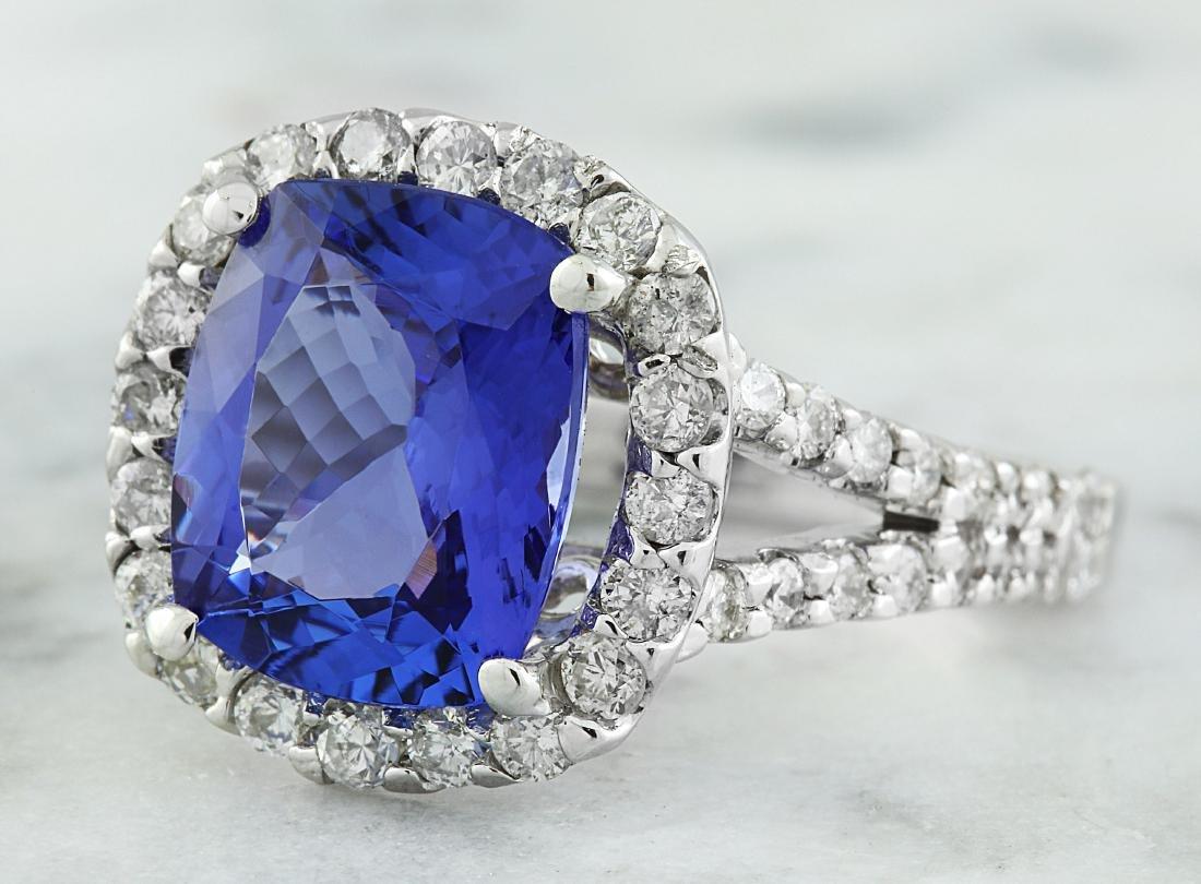 5.09 Carat Tanzanite 18K White Gold Diamond Ring - 2