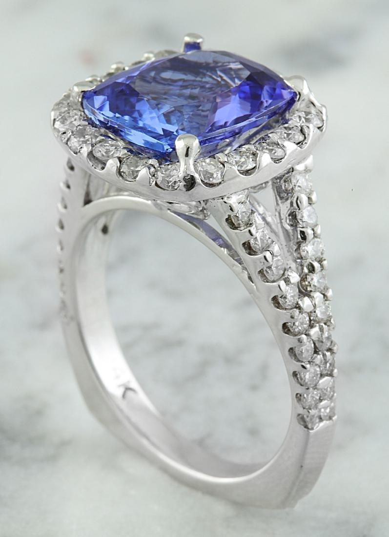 5.09 Carat Tanzanite 18K White Gold Diamond Ring - 4