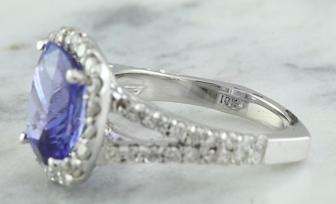 5.09 Carat Tanzanite 18K White Gold Diamond Ring - 5