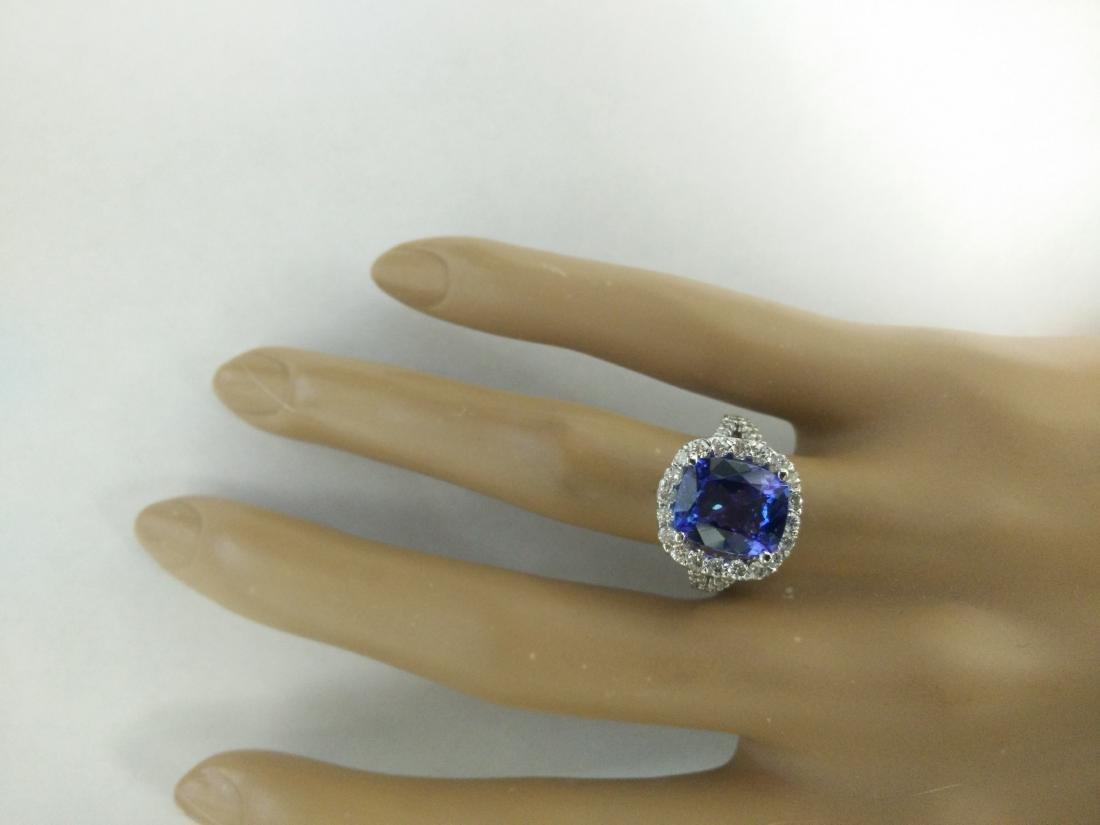 5.09 Carat Tanzanite 18K White Gold Diamond Ring - 6