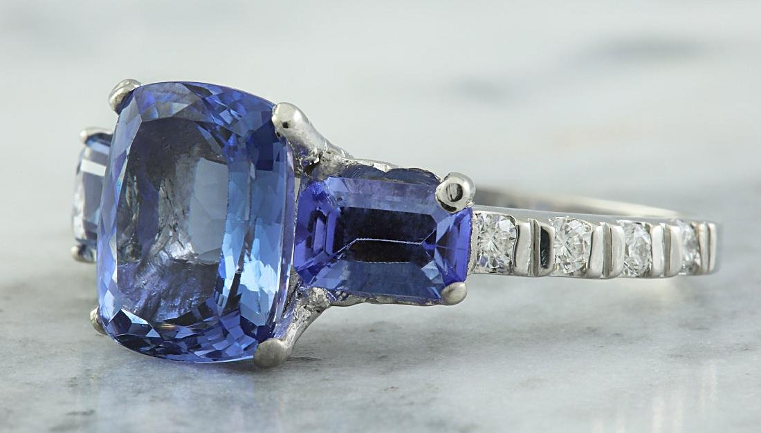 2.87 Carat Tanzanite 18k White Gold Diamond Ring - 2