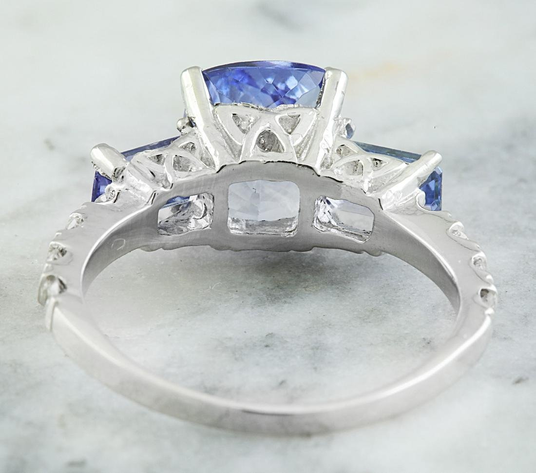 2.87 Carat Tanzanite 18k White Gold Diamond Ring - 3