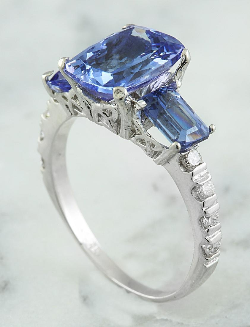 2.87 Carat Tanzanite 18k White Gold Diamond Ring - 4