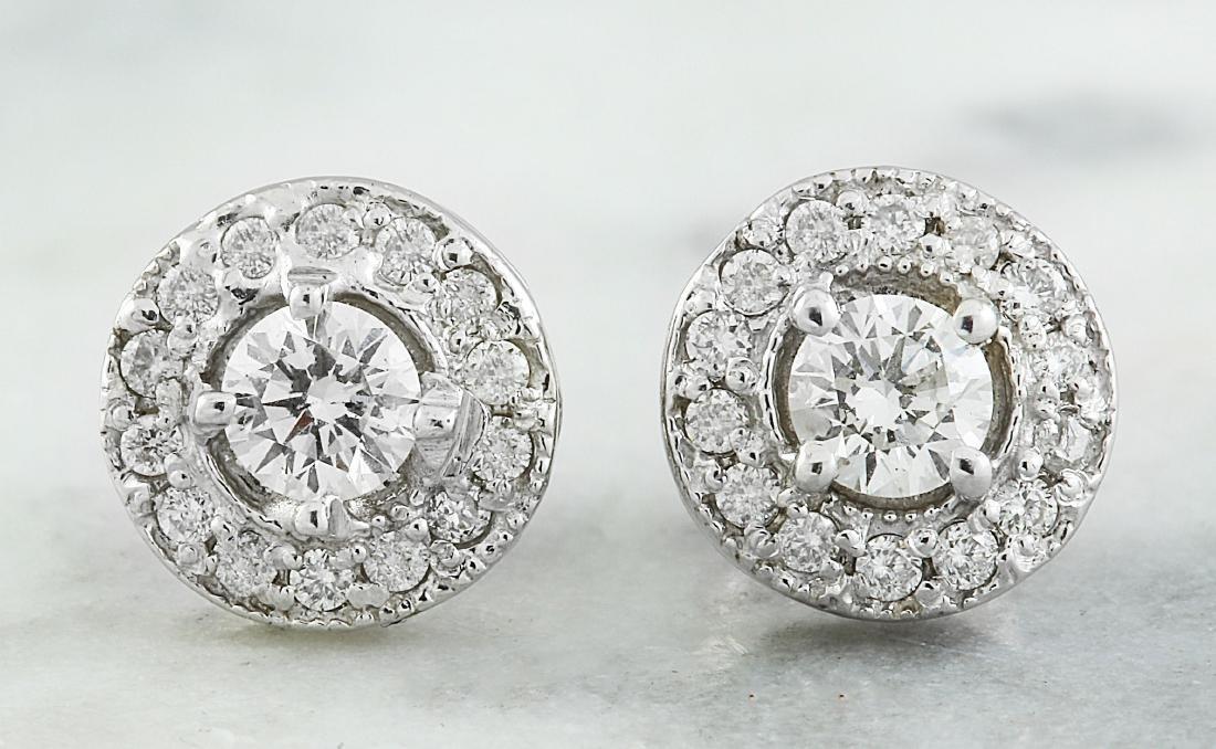0.60 Carat 14K White Gold Diamond Earrings