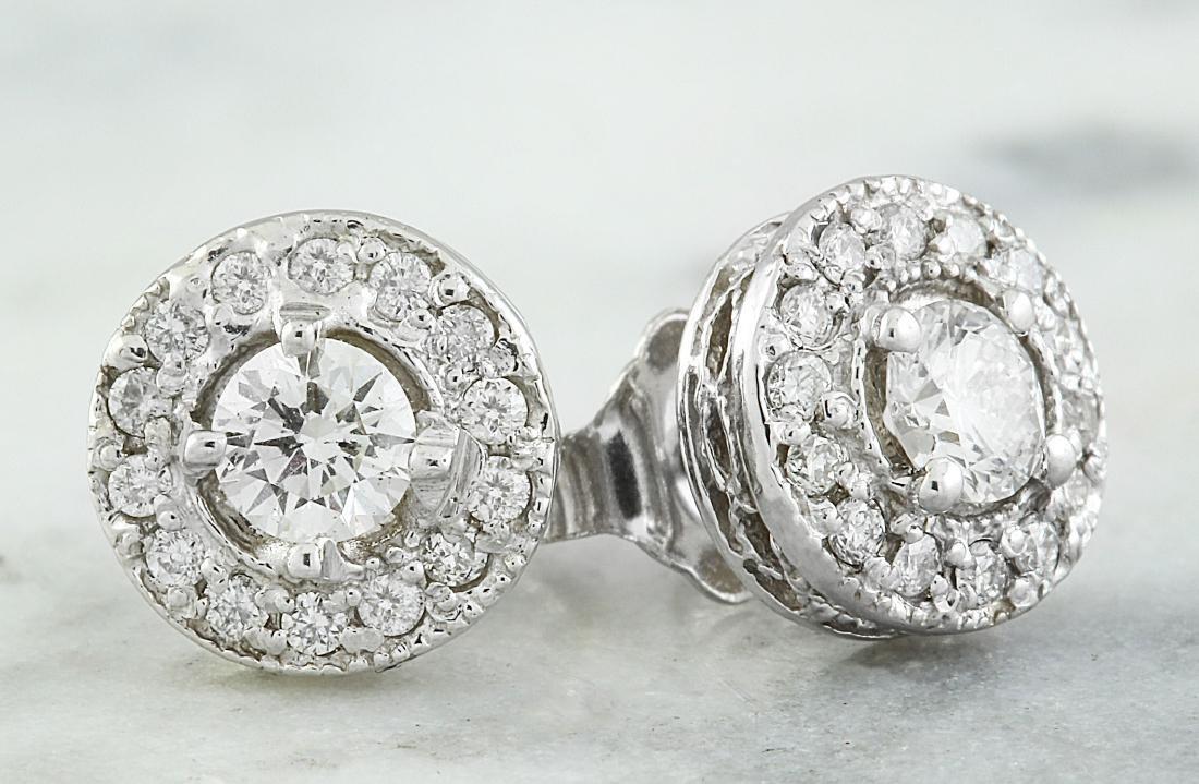 0.60 Carat 14K White Gold Diamond Earrings - 2