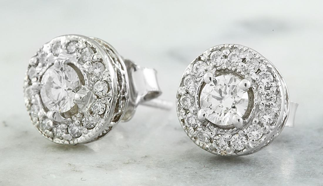 0.60 Carat 14K White Gold Diamond Earrings - 3