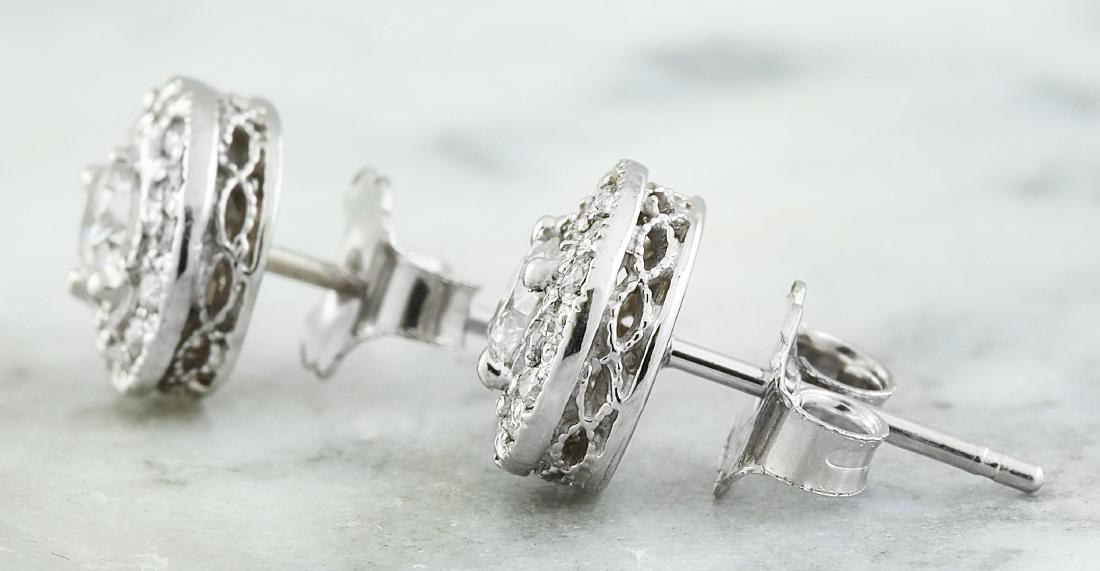 0.60 Carat 14K White Gold Diamond Earrings - 4