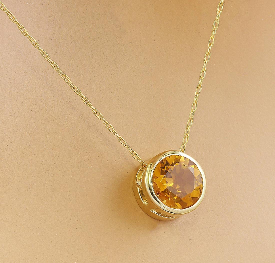 1.50 Carat Citrine 14K Yellow Gold Necklace - 2