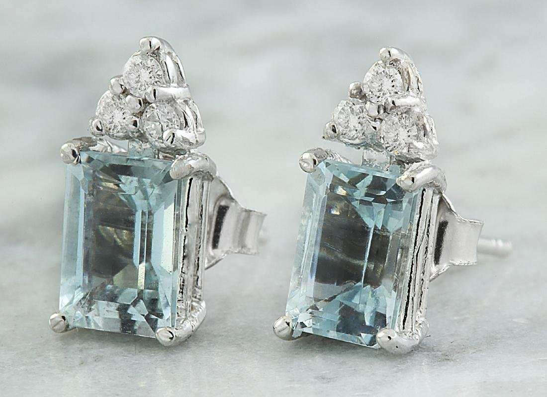 2.65 Carat Aquamarine 14K White Gold Diamond Earrings - 2