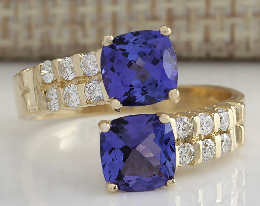 2.82CTW Natural Blue Tanzanite And Diamond Ring In 14K