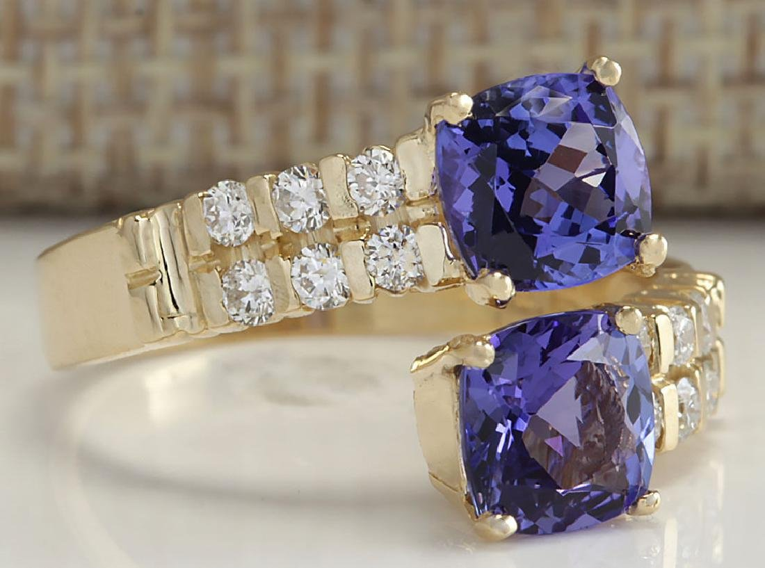 2.82CTW Natural Blue Tanzanite And Diamond Ring In 14K - 2
