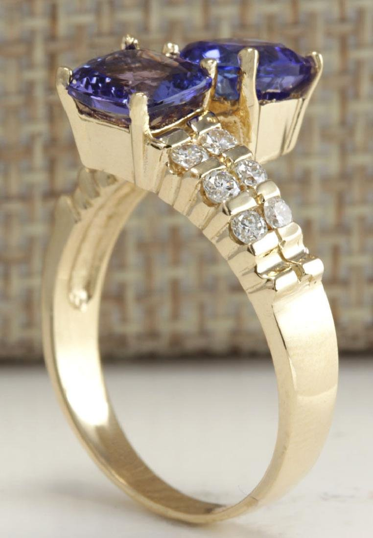 2.82CTW Natural Blue Tanzanite And Diamond Ring In 14K - 3
