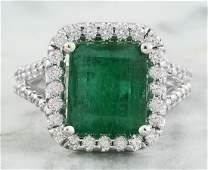 5.40 Carat Emerald 18K White Gold Diamond Ring