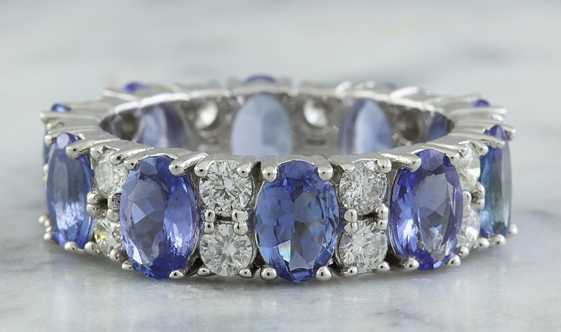 6.94 Carat Tanzanite 18K White Gold Diamond Ring