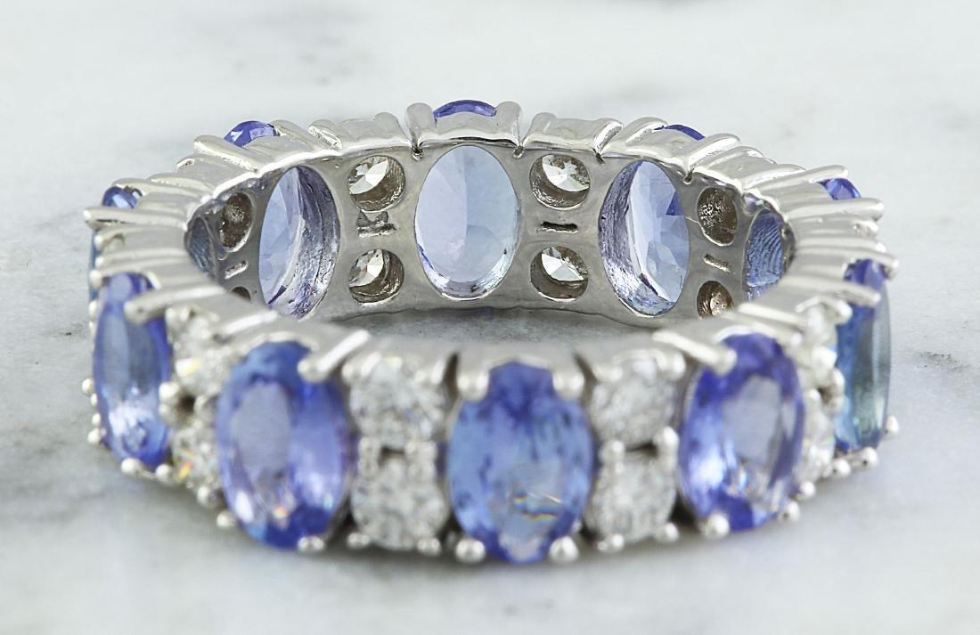6.94 Carat Tanzanite 18K White Gold Diamond Ring - 2