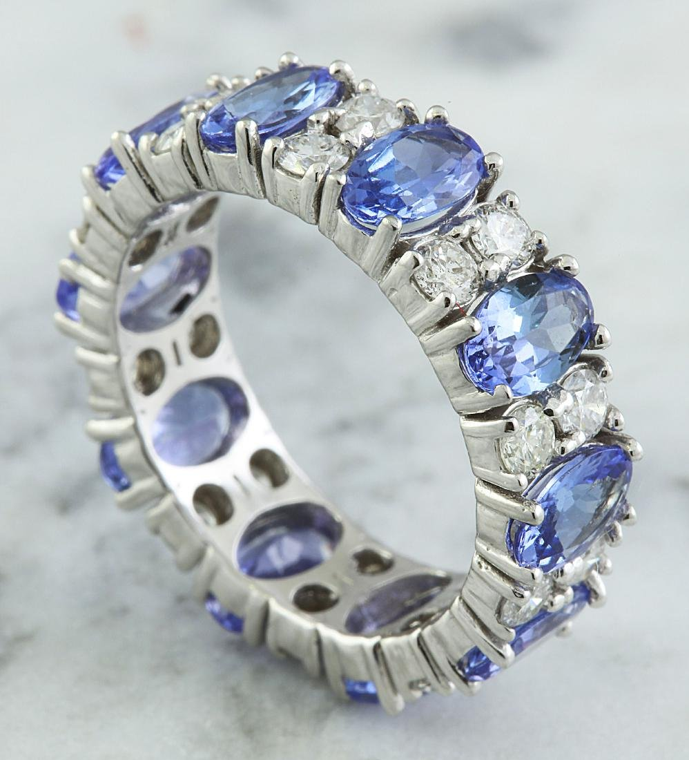 6.94 Carat Tanzanite 18K White Gold Diamond Ring - 3