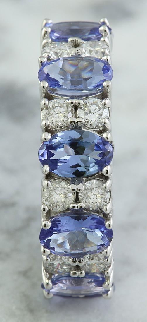 6.94 Carat Tanzanite 18K White Gold Diamond Ring - 4