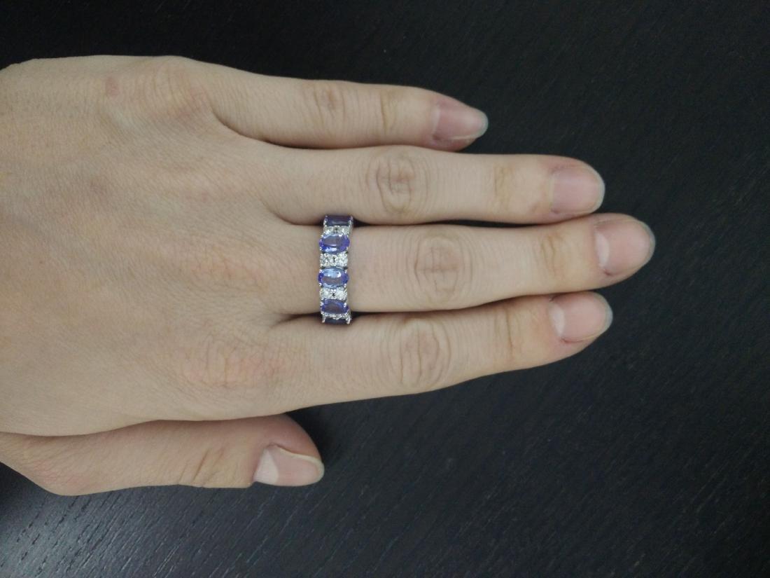 6.94 Carat Tanzanite 18K White Gold Diamond Ring - 5