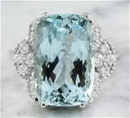 8.50 Carat Aquamarine 18K White Gold Diamond Ring