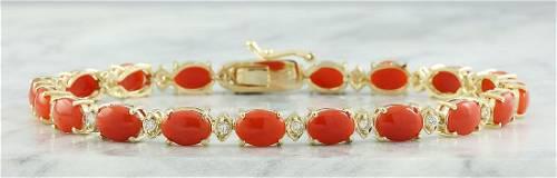 17.47 Carat Coral 18K Yellow Gold Diamond Bracelet