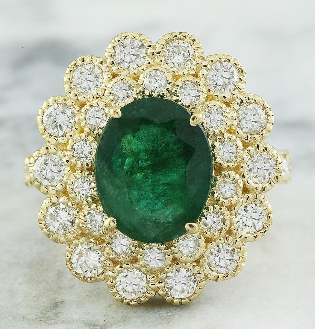 4.40 Carat Emerald 18K Yellow Gold Diamond Ring