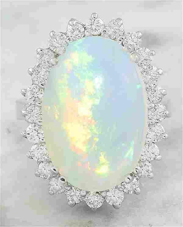 9.15 Carat Opal 18K White Gold Diamond Ring