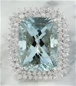 15.50 Carat Aquamarine 18K White Gold Diamond Ring