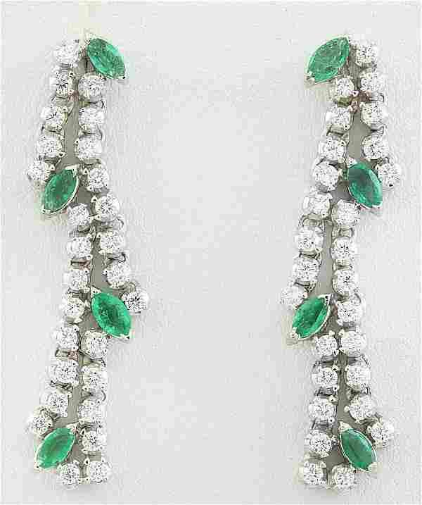 2.98 Carat Emerald 18K White Gold Diamond Earrings