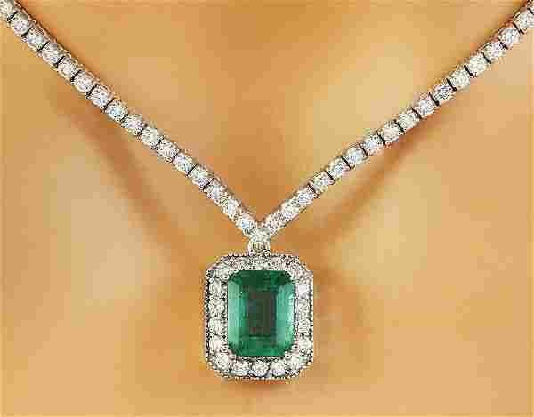 5.62 Carat Emerald 18K White Gold Diamond Necklace