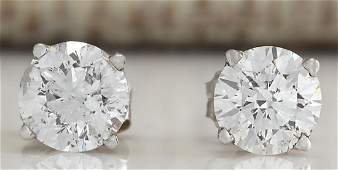 100Carat Natural Diamond Earrings 18K Solid White Gold