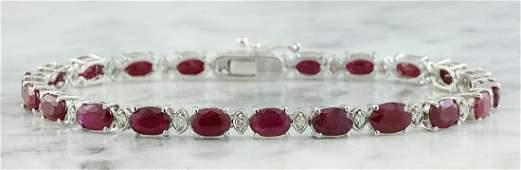 11.95 Carat Ruby 18K White Gold Diamond Bracelet